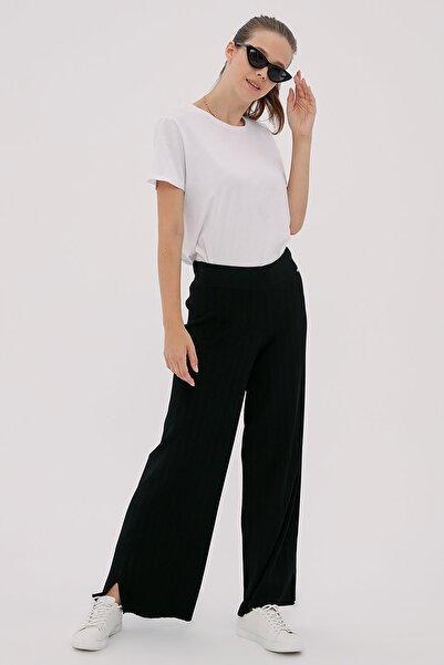 Kayra Kadın Siyah Bol Paça Triko Pantolon B20 Trk04