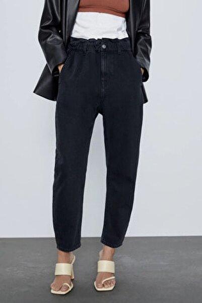 Kadın Siyah Paperbag Jeans Yüksek Bel Kot Pantolon