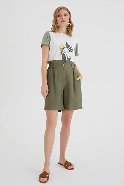 Chima Kadın Haki Lastikli Şort Pantolon