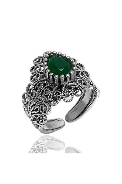 Midyat Gümüş Dünyası Yeşil Taşlı Telkari Gümüş Bayan Yüzük