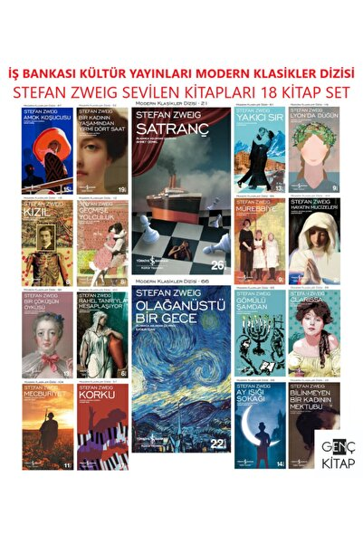 İş Bankası Kültür Yayınları Iş Bankası Stefan Zweıg 18 Kitap Set Modern Klasikler Dizisi Satranç-olağanüstü Bir Gece-kızıl-korku