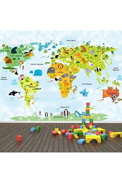 PolatDuvarKağıdı Haritalı Mavili Çocuk Odası Duvar Kağıdı Posteri
