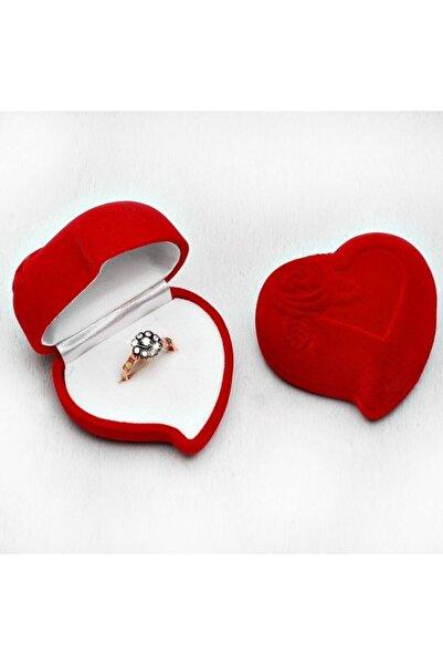 Tesbihgram Kalp Tasarım Kırmızı Renk Kadife Yüzük Kutusu
