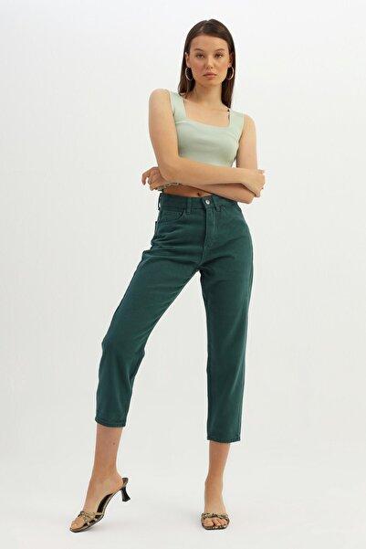 Quzu Kadın Koyu Yeşil Mom Jean