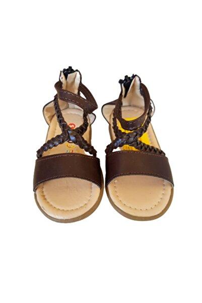 Soobe Kız Çocuk Kahverengi Örgülü Sandalet