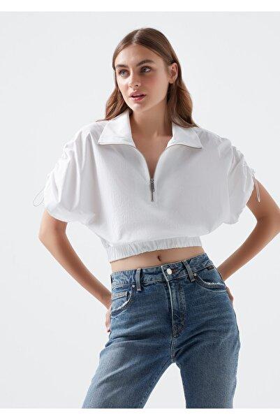Mavi Kadın Dik Yaka Beli Büzgülü Beyaz Crop Bluz 122678-620