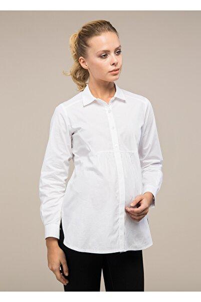 GEBE Kadın Beyaz Klasik Hamile Gömleği