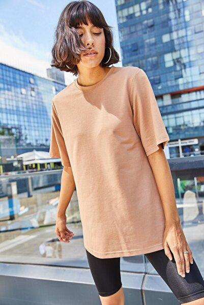 boutiquen Kadın Vizon Bisiklet Yaka Yarım Kollu Tshirt