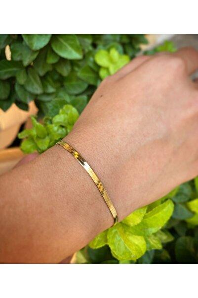 Bayar Gold Kadın Altın İtalyan Ezme Bileklik