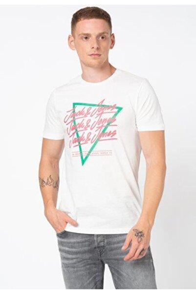 Jack & Jones Erkek Beyaz Yazı Baskılı Kısa Kollu T-shirt
