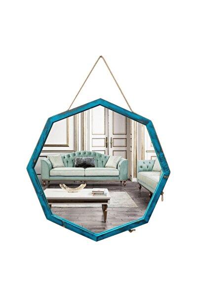 tahtadekor Halat Askılı Sekizgen Turkuaz Eskitme Ahşap Dekoratif Ayna