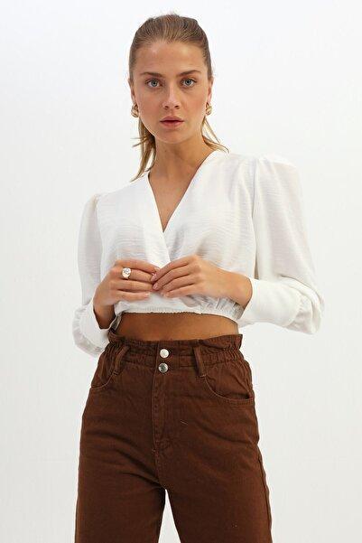 Quzu Kadın Ekru Vatkalı Kruvaze Crop Bluz