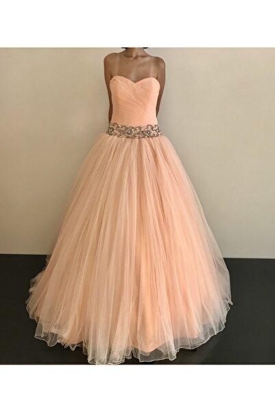 VENÜS MODA by Pınar Kadın Somon Renk Prenses Model Nişanlık Tül Etek Abiye Elbise
