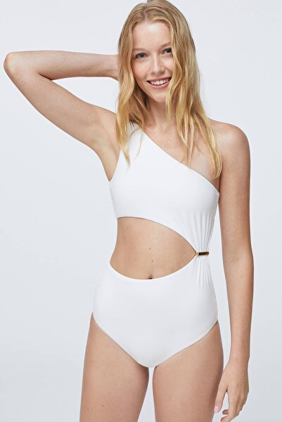 Oysho Kadın Kirik Beyaz Dore Detaylı Asimetrik Trikini