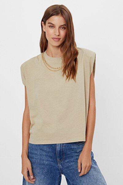 Bershka Kadın Haki Zincir Detaylı Kolsuz Top Tişört