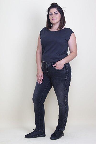 Şans Kadın Antrasit Cep Ve Yanları Taş Detaylı Likralı Kot Pantolon 65N17678