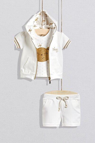 Wogi Kız Bebek Beyaz Kapüşonlu Yelekli 3'lü Takım