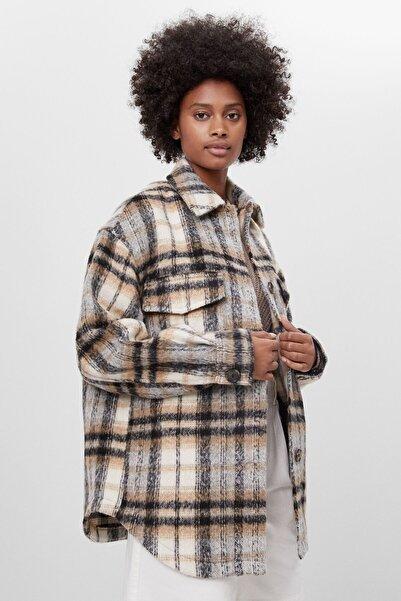 Bershka Kadın Kahverengi Kareli Ince Ceket