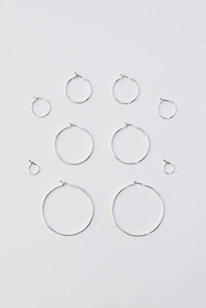 Pull & Bear Kadın Gümüş 5'Li Basic Halka Küpe Seti 09996334