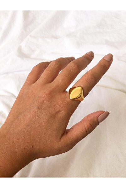 The Y Jewelry Altın Kaplama Plaka Yüzük -ayarlanılabilir