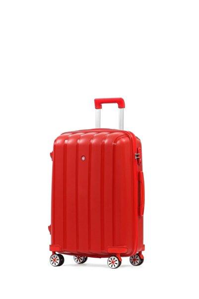 CENGİZ PAKEL Policarbon Valiz Orta Boy-20305-o-kırmızı