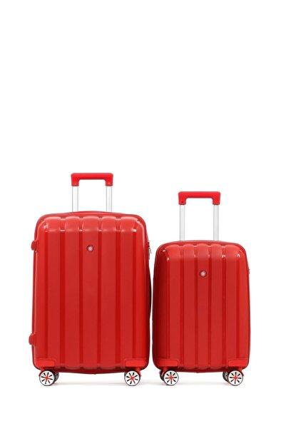 CENGİZ PAKEL Policarbon 2li Valiz Seti Kabin Boy-orta Boy 20305-ko-kırmızı