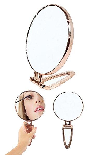 Binbirreyon Katlanır Ayaklı Makyaj Aynası Seyahat Aynası Büyüteçli Lame Sarı Renk 15cm Mb044