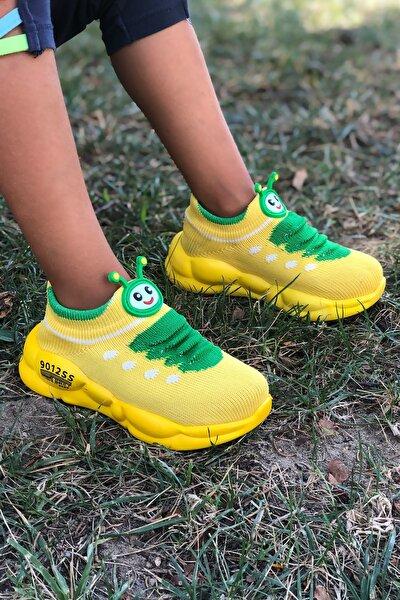 Unisex Sarı Ortopedik Hafif Yumuşak Çocuk Spor Ayakkabı