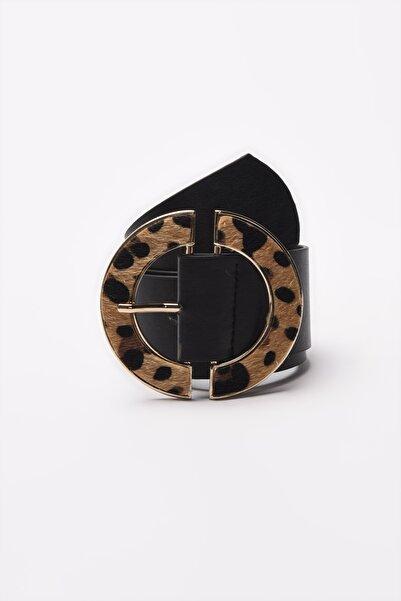 TRENDYOLMİLLA Siyah Leopar Tokalı Deri Görünümlü Kemer TWOAW21KE0023