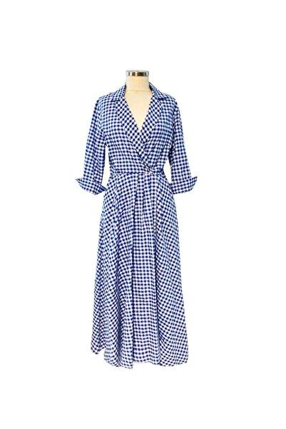 Ayşe Brav Mavi Kareli Uzun Elbise