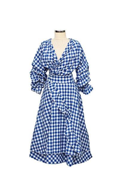 Ayşe Brav Mavi Kareli Elbise