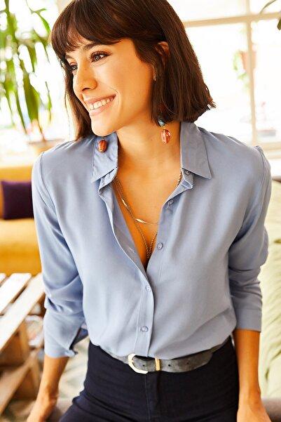 Olalook Kadın Bebe Mavi Dokuma Viskon Regular Fit Gömlek GML-19000697