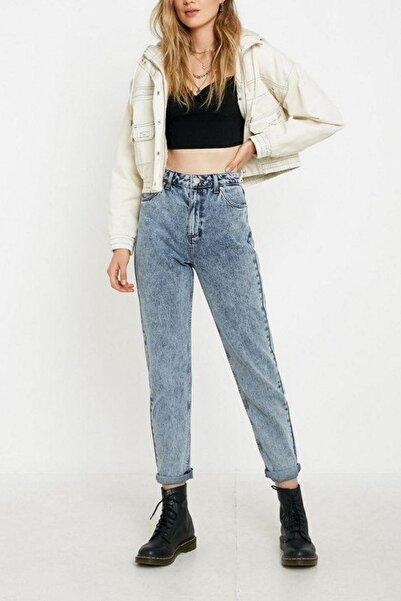 Kadın Mavi Acid Wash Vintage Model Mom Jeans