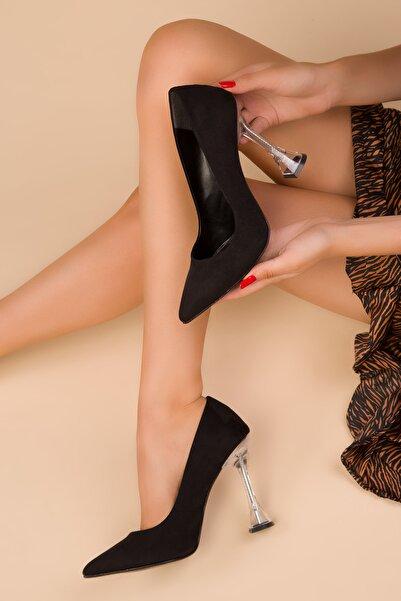 SOHO Siyah Süet Kadın Klasik Topuklu Ayakkabı 15285