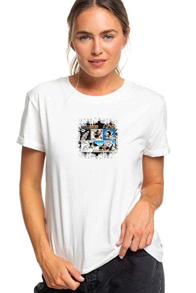 QIVI Kadın Beyaz Black Ducks Igor Zakowskı Baskılı Örme Tshirt