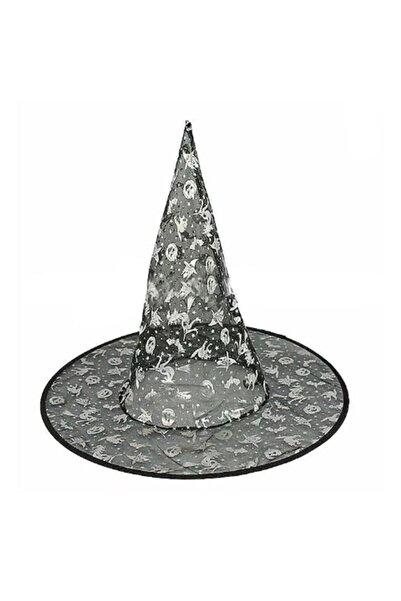 Pandoli Ürkünçler Desenli Ince Tül Cadı Şapkası Siyah Renk