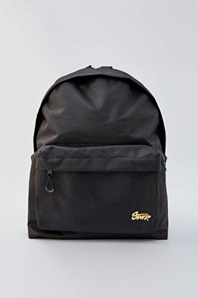Pull & Bear Erkek Logolu Cepli Siyah Sırt Çantası 09822520