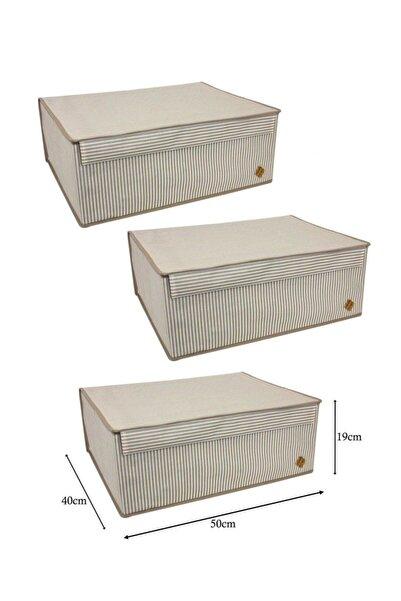 Meleni Home 3 Adet Kapaklı Çok Amaçlı Hurç Saklama Kutusu Organizer Baza 50 X 40 X 19 Cm Kahverengi