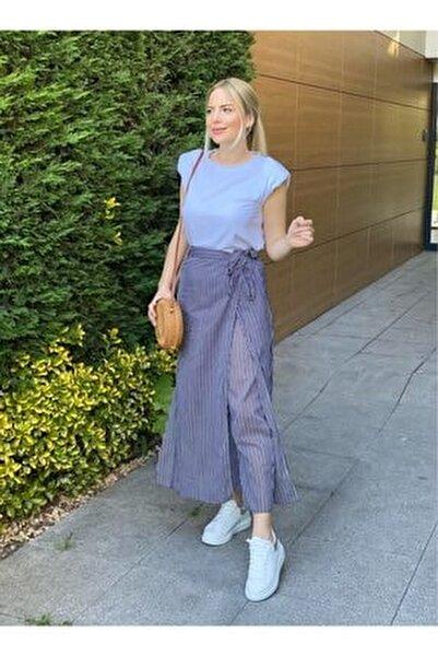Kadın Lacivert Çizgili Pantolon Etek