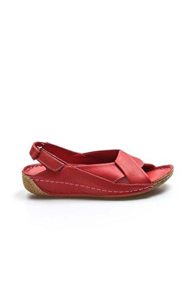 FAST STEP Hakiki Deri Kırmızı Kadın Klasik Sandalet 864za610
