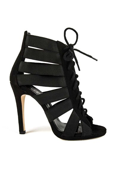 DİVUM Kadın Siyah Süet Topuklu Ayakkabı 06349