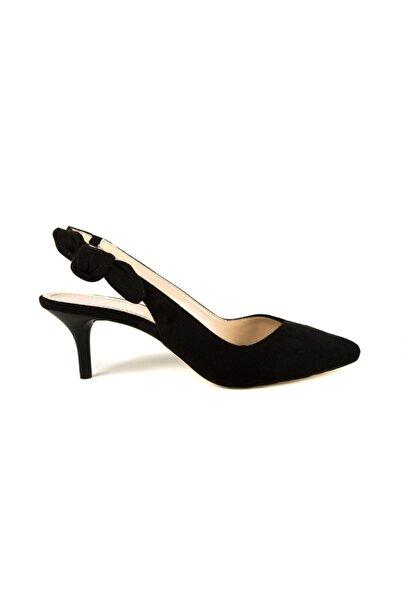 DİVUM Kadın Siyah Süet Topuklu Ayakkabı 00744