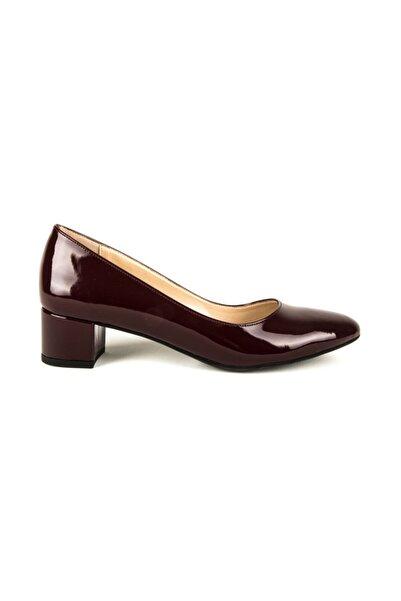 DİVUM Kadın Bordo Rugan Topuklu Ayakkabı