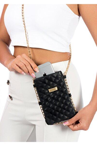 BAGzy Kadin Siyah Çapraz Zincirli Telefon Çantası