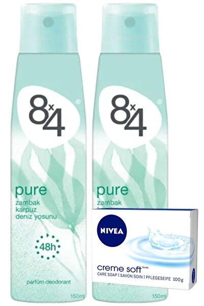 8x4 Pure Pudrasız Unisex Deodorant Sprey 150 Ml X 2 Adet | (Nivea Sabun Hediyeli)
