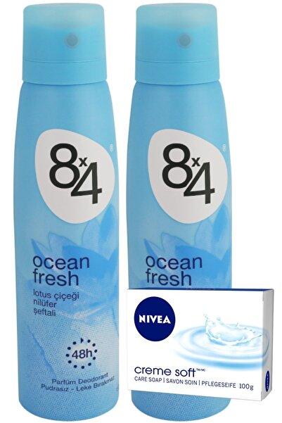 8x4 Ocean Fresh Pudrasız Unisex Deodorant Sprey 150 ml x 2 Adet  Ve Nivea Sabun