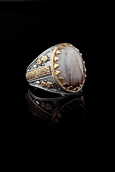 Elika Silver RCH2149 Sarı Çiçek Motifli Yemen Akik Taşlı 925 Ayar Erkek Gümüş Yüzük