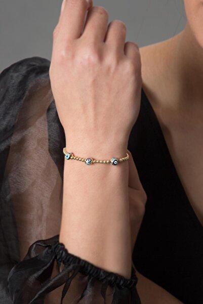 Kadın Nazar Boncuklu Altın Kaplama 925 Ayar Gümüş Bileklik