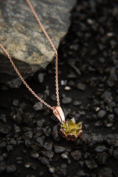 Elika Silver Kadın Lotus Çiçeği Olive Yeşil Taşlı 925 Ayar Gümüş Kolye