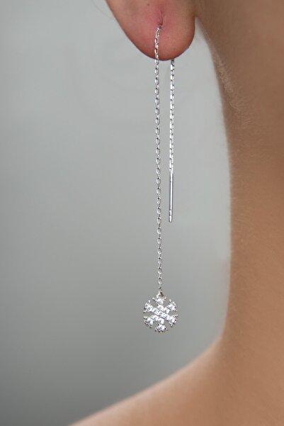 Elika Silver Kadın Kar Tanesi Model Sallantılı 925 Ayar Gümüş Küpe